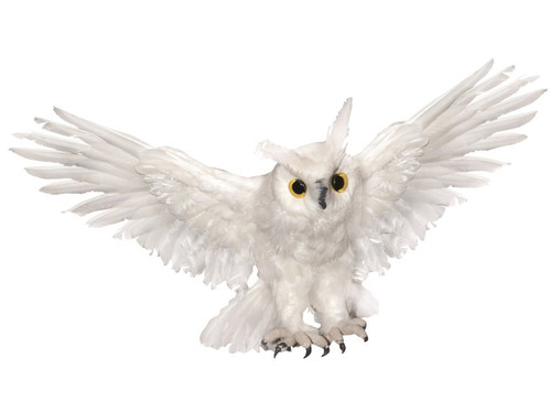 New 2017.  Haunted White Owl. If you need something sinister and spooky without using something cliche like a skull or a bat, these owls will do the trick for you and cause chills on your victim's spines! White owl with wings outstretched.  19 Inch Wing Span - MED  OR   28 Inch Wing Span - LRG