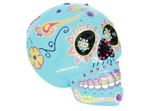 Perfect decoration for your Day of the Dead Party! Colorfully decorated skull in popular holiday theme. This measures approximately 7.5in x 5.5in x 5.9in. Lightweight foam skull. Blue.