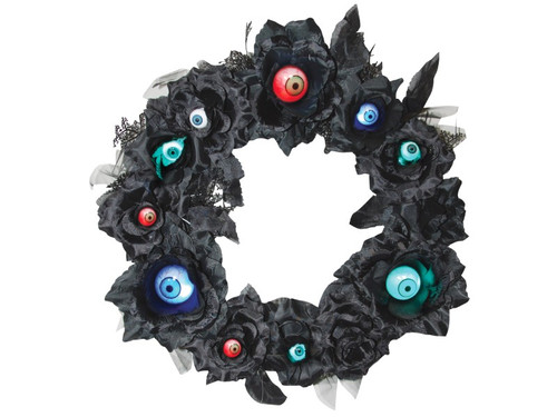 This scary decoration will let the trick or treaters know you are celebrating halloween this year! This wreath with light up eyeballs is sure to draw them in even as the hairs on the backs of their necks start to stand up! 15 inches.