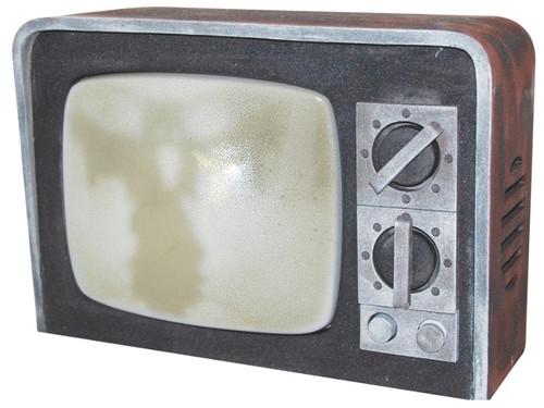 New 2017.  This Haunted Terror TV looks just like an old time TV. When activated, screen flashes and corresponding sounds set an eerie scene. Measures 9 inches x 12 inches x 4.5 inches. Requires 3 AAA batteries, not included. Sound activated.