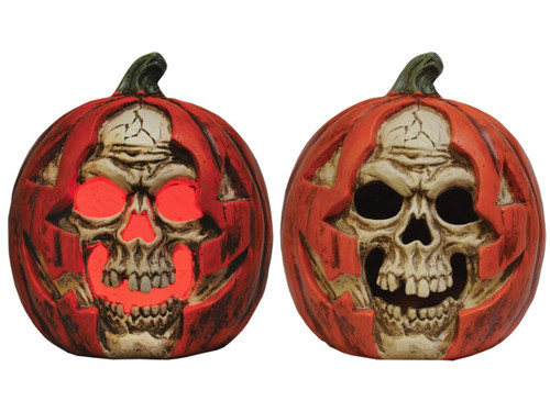 New 2017! Durable, creepy skull appearing to breakout of a pumpkin. Red LED light inside gives a haunting look. Try me and on and off feature included. Heavy stone (Magnesium Oxide) construction. Great party decoration! Measures 14 inches x 11 inches x 9 inches. Requires 2 AA Batteries.