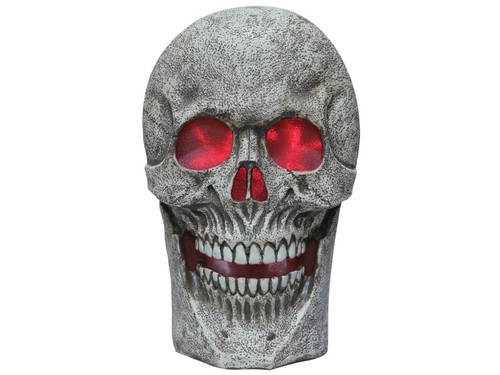 New 2017! You'll be giving your Halloween decorations a morbid touch by incorporating this oversized skull into the mix! This giant skull features color-changing lighting effects and haunting sounds that are activated by the motion sensor. Add to a party theme by displaying flat on a table or hang on the porch for a grisly welcome. Oversized decorations are the perfect finishing touches to your spooky landscape. 24 inches tall, requires 3 AA batteries, not included. Use indoors or in a covered porch area.