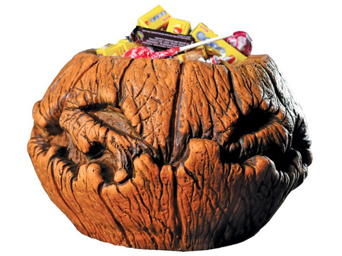 New 2017. Kids might just think twice before taking all the candy from this putrid pumpkin bowl. The pumpkin candy bowl is made from foam-filled latex and detailed to look like a rotten, withering pumpkin for a unique twist on the traditional Jack-O-Lantern. Add this staple Halloween decoration to your collection! Boxed dims: 12x12x8.