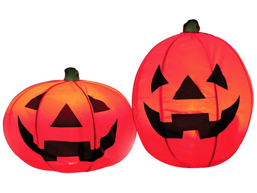 """Looking for easy Halloween decorations? Look no further! These collapsible lighted pumpkins are perfect to create an instant Halloween atmosphere. Prop includes two """"instant"""" lighted pumpkins in one bag set. These pumpkin decorations are made from orange all-weather polyester material and detailed with black screen printed jack-o-lantern faces and feature a steady glowing LED light in each pumpkin. Great for indoor or outdoor Halloween decorations! And best of all--the pumpkins are quick and easy to assemble and collapse for easy storage. Measures 18 in tall, 21 in wide, and 24 in tall, 19 in wide. Each pumpkin includes 2 metal ground stakes. Assembly instructions are included, and comes with a black polyester zipper storage bag with a hanging loop. Requires 2 AA batteries, not included."""