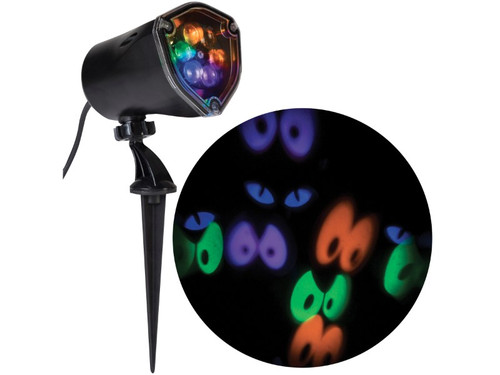 The Whirling Ghost Eyes!  A great accessory to help take your Halloween display to a whole new level! Item projects whirling images of eyes with static and strobe functions and features energy- efficient, long-lasting LEDs. This item also uses SMT (Surface Mount Technology) which makes a brighter, more stable light than normal LEDs. Size is L - 12 inches by W - 5 inches. AC Plug.