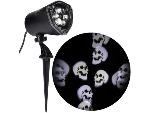 The Whirling Skeleton Skulls Spotlight. A great accessory to help take your Halloween display to a whole new level! Item projects whirling images of eyes with static and strobe functions and features energy- efficient, long-lasting LEDs. This item also uses SMT (Surface Mount Technology) which makes a brighter, more stable light than normal LEDs. Size is L - 12 inches by W - 5 inches. AC Plug.