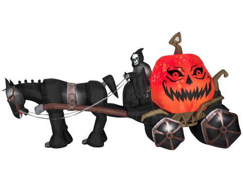 New 2017.  The Inflatable Airblown Reaper With Carriage. The inflatable horse and carriage set features death himself riding and holding the reins with a giant orange pumpkin in back sporting magical evil grin as if the pumpkin is alive! Good for both inside and outside use, item lights up, stakes and tethers included and item operates on electricity. No batteries needed. Has sound. Measures 85 inches x 51 inches x 168 inches.