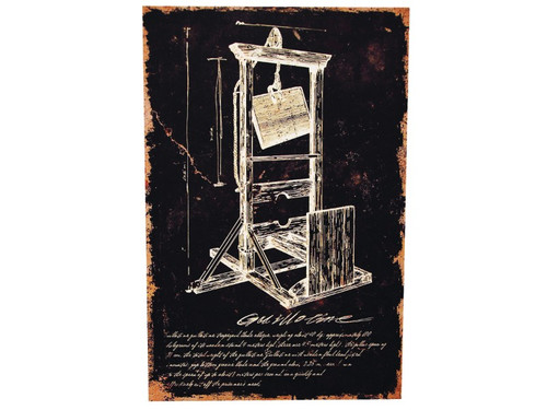 New 2017. Don't lose your head over this creepy print of the French designed Guillotine! Destressed-look canvas print on a pressed cardboard fame. The frame has a notch in the back for easy hanging. Measures 16 inches by 24 inches and 3/4 of an inch deep.  Make your next haunted party just a touch more eerie!