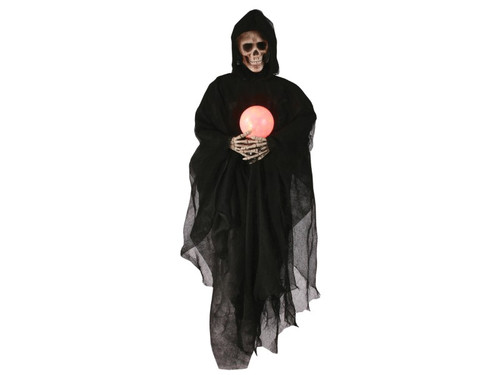 Let your guest and trick-or-treaters gaze into the crystal ball of the grim reaper and see their future, or how long it might be! Haha! Hanging skeleton prop is 36 inches long with skull and hands wrapped in a black tattered cloak. The skeleton is holding a glowing red/orange globe that lights up with 3 AAA batteries, not included. You'll be giving your decorations a deadly touch by incorporating this ghastly fortune teller into the mix!