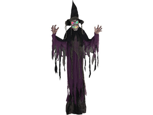 Which witch will turn your Halloween display into a spine-tingling happening your friends will always remember? This witch, that's which! Very spooky with black robe with hanging pieces and multi-color face lights. This measures approximately 55.1in x 7.1in x 72in Uses 3 AG13 Watch batteries included.
