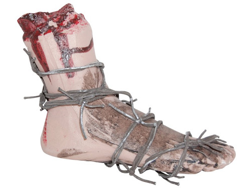 A great prop for hanging outside in your home haunt or for use in a haunted house. Realistic looking bloody foot wrapped in plastic but realistic-looking barbed wire. Lay somewhere for display or hang the item by using the barbed wire for more great effects. L7 inches by W8 inches by T3 inches.