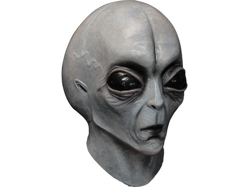 This Grey Alien Area 51 Mask is made for your Halloween to be out of this world! This fantastic alien mask is made from high quality latex and features a full-face, over-the-head construction. The mask depicts a stoic alien with a bulging scalp, oversized eyes, small nose and thin, pursed lips. Add your own flight suit for a clever Halloween costume!