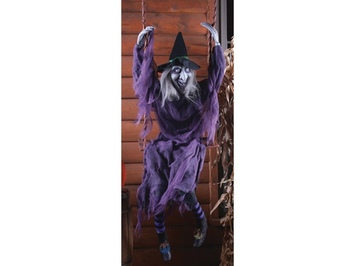 Don't look now, but there is a witch outside your window! This witch might have lost her broom, but she is still getting in! This funny Halloween decoration is 5' tall and looks like the backside of a witch, giving the brilliant illusion that the witch is climbing! She is wearing a black tattered jump suit with tattered gauze, black witch hat and green and black striped stocks with boots. 60 inches tall.