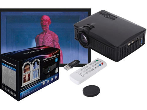 This ProFX Projector Kit allows you to project DVDs, videos, and images via front or rear projection, giving your home an eye-catching live action feel! Kit includes everything you need to create a professional-looking projection display. Great for Halloween, Christmas, birthdays and more! The ProFX Projector Kit includes: 1500 Lumens LCD Projector with USB /SD /HDMI /AV inputs, audio output jack, remote control and two white projection screens. Screens are easily attached to windows for rear projection, or suspended in a doorway or corner for front projection. Also includes thumb drive with multiple FX scenes for Halloween, Christmas, and party fireworks or you can connect your computer and play your own videos and pictures! The possibilities are endless!