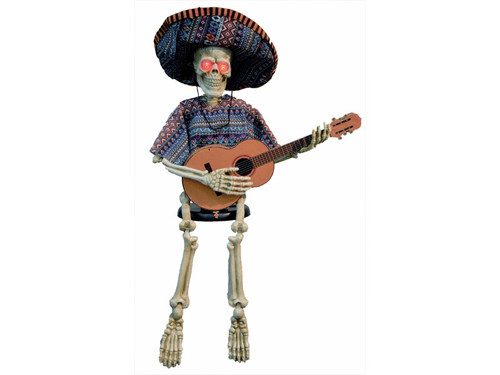 Unique animated 40 inch skeleton strumming a guitar! Eyes blink off and on and distinct music makes a great sound background for your spooky gathering. Runs on 3 AA batteries, not included. Fabric styles may vary.