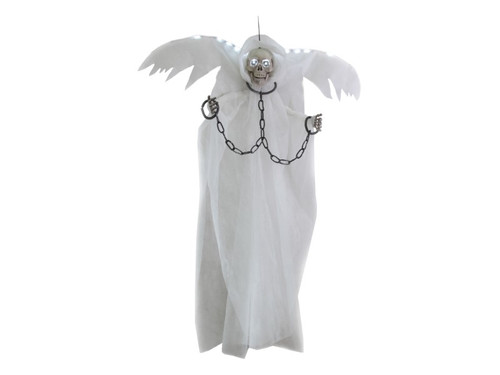 """6 Ft Winged Reaper In Chains. The perfect prop for your haunted house or home display! White robed winged reaper in chains. Top of the wings and hollow eye sockets light up. Measures approximately 44"""" x 7"""" x 72"""". Uses 3 AA batteries, not included."""