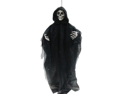 "3 Ft Talking Hanging Reaper. Black cloth reaper shroud, realistic menacing skull and light up eyes and boney skeletal hands reaching out. Arms are adjustable! Measures approximately 36"" long. Uses 3 AAA batteries included. Type a description for this product here."
