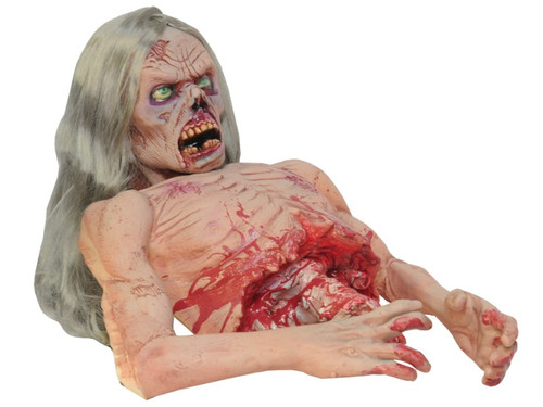 This zombie's been ripped in half, but is still moving! He groans and moans, thrashing his head up and down. CD included with disturbing sound track. 110 volt required. Foam body with latex coating and steel armture. Hand painted for the most realistic detail possible. 16lbs. 29x19x13. Wig color may vary.