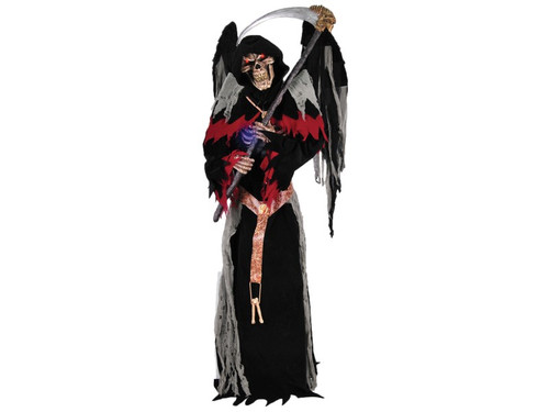 """Animated Winged Grim Reaper Skeleton Skull.  Prepare to meet your doom! Standing 7' tall (84""""), the Winged Reaper features a full black robe with red and gray torn fabric accents, a belt with 3 hanging plastic bones, hand-painted roto-PVC head with red LED eyes, hand-painted roto-PVC hands & ribcage, two creepy huge wings, and holds a 54"""" long plastic scythe with a 26"""" long plastic blade. Plug into standard outlet for head to turn from side to side, to power the sensor which is light/shadow/motion sensitive, and operate the LED eyes and the morphing/color changing chest light. The Winged Reaper will say one of three sayings with each activation of the sensor (""""Ahh...I knew we would meet soon. Come, feel Death's cold embrace!""""; """"I have been waiting for you. Allow me to seal your doom! Ah-hahahahah!""""; """"You can run, but you cannot hide. There is no escaping your death!""""). Assembly required."""