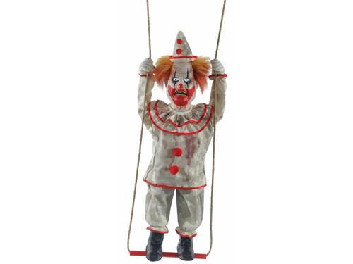 Swinging Clown Doll Animated. Create a 3-ring fright fest when you bring home the Swinging Happy Homicide Clown Doll! This 39-inch clown prop features an infra-red sensor, eerie glowing eyes, and makes spooky sounds to all passersby as his head turns side-to-side while he swings back and forth on his swing. Your house will be a circus of terror with the Swinging Happy Homicide Clown Doll! Choose from Steady-On or Infra-Red Sensor activation options to operate. UL power cord included. The infra-red sensor works up to 6.5' feet away & works in all lighting conditions - bright light to no light! Item includes volume control. Assembly required. Made of polyester, PVC, sponge, plastic, hemp rope, electronics. Hang from any pipe. Including the swing mechanism, rope and figure, total length is 46 inches.