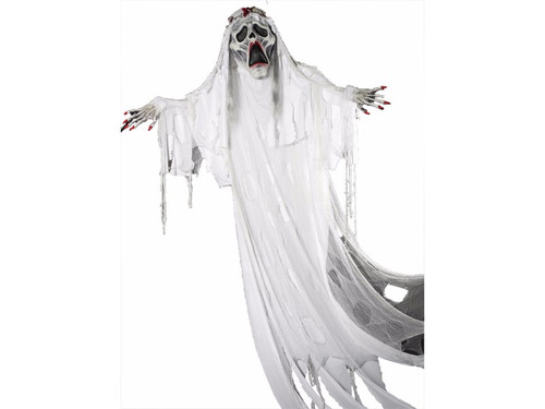 Ghost Bride Hanging. Horrifyingly scary hanging prop of ghost bride. Approximately 12 foot tall prop with enlarged head and hands. Comes with ghostly bridal gown.