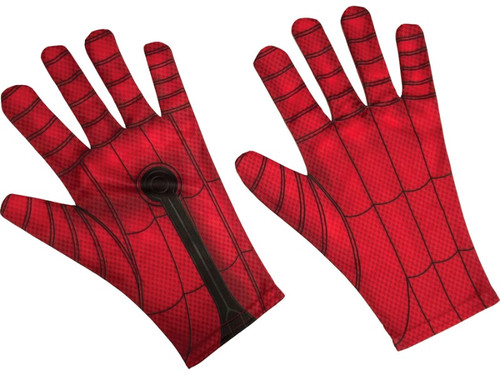 These Spiderman gloves are the perfect accessory to your Spiderman costume! The gloves are red with spider web print and have a black circle printed on the palm to illustrate the web-shooter. Gloves come in child and adult sizes. Add your own web-shooting sound effects! This is an officially licensed Marvel product.  Lrg - Fits Most Adults  Sm - Fits Most Children