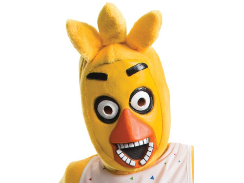 Five Nights At Freddy's Chica Child Mask. Five Nights at Freddy's is a survival horror video game that features the gamer as an underpaid night guard at Freddy Fazbear's Pizza, a family friendly food and arcade establishment where animatronics entertain the whole family. This 3/4 latex and faux fur mask will be perfect as an accessory to your child's Chica costume. One size fits most.