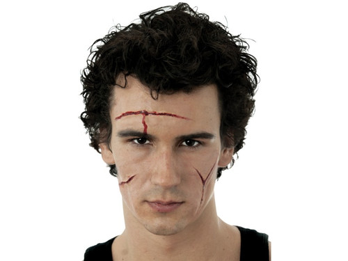 Scare them with these realistic cuts with the Easy FX Peel & Stick Cuts Latex Appliance Kit. Forward facing blister card containing Woochie peel and stick latex, multiple cut appliances, blood and stipple sponge.