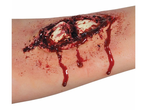 Make yourself look broken with Easy FX Peel & Stick Broken Bone Appliance Kit! Forward facing blister card containing Woochie peel and stick latex, compound fracture appliance, blood and stipple sponge.