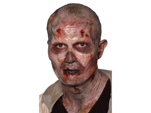 Stage 2 Zombie. Become this Zombie make everyone think you star in The Walking Dead! Soft, UNPAINTED foam prosthetics - UPPER HALF OF THE FACE once glued onto your face, will move with each facial expression.  Talk, drink and eat with these super realistic creations.  Requires spirit gum, latex and makeup - sold separately with our other makeup accessories.