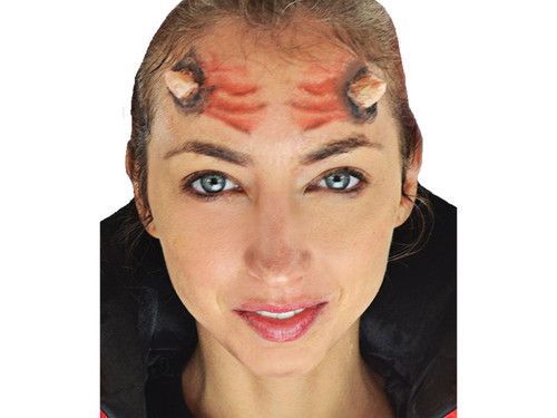 Get the 3D FX Makeup Kit of your choice that will make your friends scream as you dress yourself up with a realistic, haunted look. Forward facing blister card containing Woochie peel and stick latex horned, injury, maggots or nalis/bolts appliances, photorealist tattoos and blood.    Choose:  Horns  Injury  Maggots  Nails/Bolts