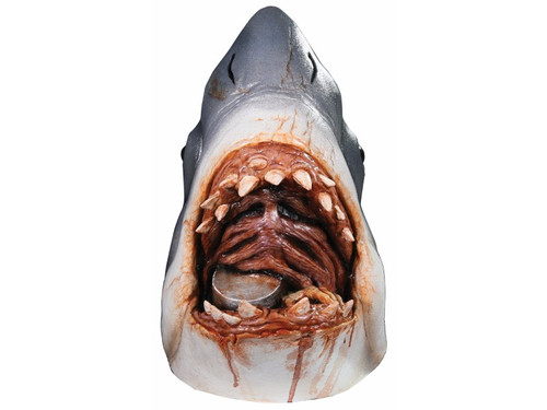 From the award-winning, massively popular movie Jaws comes this full, over-the-head latex mask of Bruce the shark complete with debris inside shark's mouth. One size fits most adults.