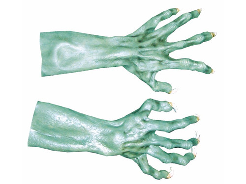 An extreme costume look with the Ultimate Monster Hands! Fits snug over your own hands with forearms that create a real eerie look. Creepy long knuckled fingers with gnarly long nails. Hands and arms are 19 inches long.