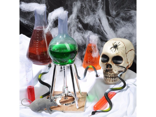 "Get your new 2017 Mad Lab Kit. This Halloween transform your home into a spooky mad scientist laboratory and fill your guest with ""ooze"" and ahhs! This Mad Lab kit has all the props you need to create an unsettling workshop filled with experiments so dark they would impress even the most infamous of mad geniuses. The Halloween prop kit includes a small bottle, a medium bottle, a large bottle, test tube, burner with PVC tube and stand. Also included is 0.3 oz. spider web material with spider, rat, snake and skull-after all, every good lab needs a few test subjects! The props conveniently come in a reusable storage chest. Think outside the box, just like a mad scientist, and get creative with your disturbing laboratory scene! Throw in some blood splatter and dry ice for an extra chilling effect."
