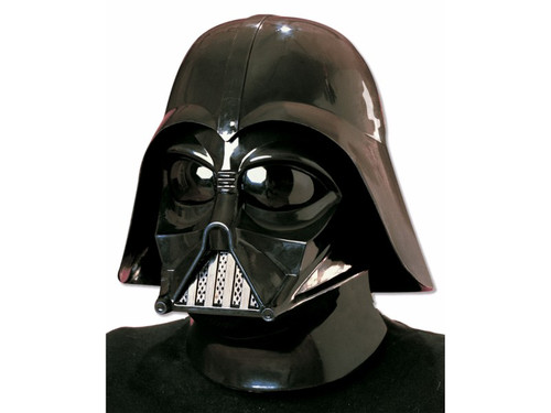 Become part of the dark side with your Darth Vader Mask! Two-piece plastic mask with Velcro fasteners. Good vision and ventilation. Very adjustable, will fit larger heads.