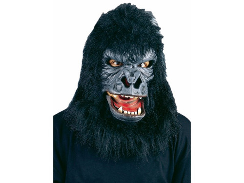 Latex rubber face mask with moveable mouth and faux fur hood. Elastic straps provide a comfortable secure fit.