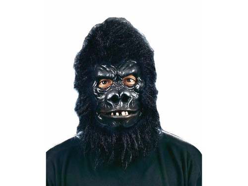 Now this is a scary Gorilla look! Latex rubber face mask with faux fur hood. Movable mouth.