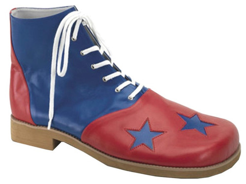 "Get ready to entertain in these oversized lace-up high tops! These playful clown shoes are two-toned in red and blue and feature three blue stars on the comically large front, 1-inch heel and 14 grommet lace-up closure. They are made from polyurethane and are extremely pliable, water-resistant and easily cleaned and maintained. These shoes are a must-have clown accessory! Standard, one size fits most adults. Length: 14.75"", width at toe: 6.5""."