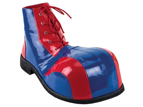 Red and blue patent bump-toe clown shoe has 10-grommet lace-up closure and includes matching shoestrings. Perfect finishing touch to your clown costume! Works for either a happy or horror clown look. One size fits all.