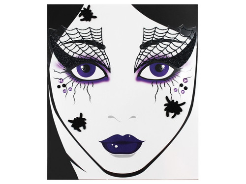 Spider Web Eye Makeup is stunning, but a little tricky to do! Spider Web face decal is the perfect way to add special makeup to your Witch costume without the hassle! The face decals have a sticky backing so you simply peel off and apply directly to clean face- easy application is foolproof! The Halloween makeup kit includes black glitter web eye decals, black and purple jewels, and 3 cute spiders. Add your own eye pencil for additional effects.