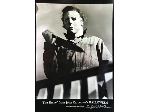 "Michael Myers: ""The Shape,"" From John Carpenter's Halloween.  This 19"" x 13"" print includes an authentic signature from the on set photographer, Kim Gottlieb-Walker. John Carpenter's producing partner, Debra Hill, hired photographer Kim Gottlieb-Walker to be the unit photographer on Halloween, and Kim soon became part of Carpenter's filmmaking family, going on to shoot stills on the sets of some of his most iconic films.  This is a rare find for any 1978 Halloween Movie Collector."