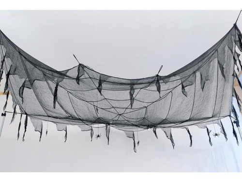 Instantly transform any space with this tattered cloth and spider web. Measures 10 feet by 5 feet and includes 8 spiders.