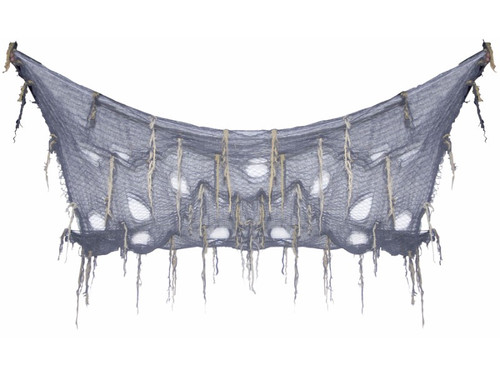 """Erie creepy cloth with dangling accents. Measures 5.2 feet long X 7 feet wide. Place in your haunted house or your next party for a scary creepy look. 62"""" x 82"""" x 10."""""""