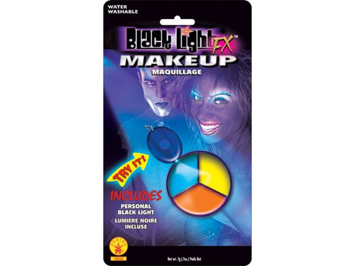 Three Color Wheel Cup with glow black light makeup. Full color blister pack with black light pendant attached so your patrons can see the makeup glow. Water washable. Blue/Yellow/Orange.