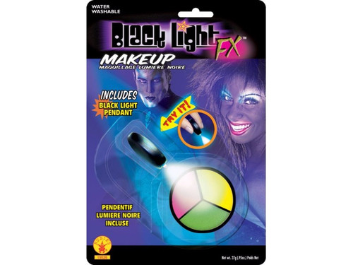 Three Color Wheel Cup with glow black light makeup. Full color blister pack with black light pendant attached so your patrons can see the makeup glow. Water washable. Green/Red/Yellow.