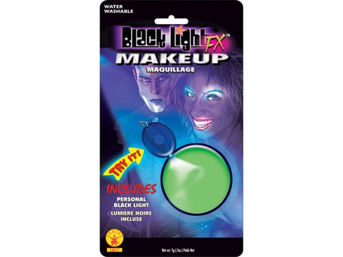 Simply apply makeup and you will 'glow under black light'. Color blister pack containing .3oz makeup cup and black light pendant allows your patrons to see how the makeup glows.  Choose: Green, Pink, Yellow, Orange
