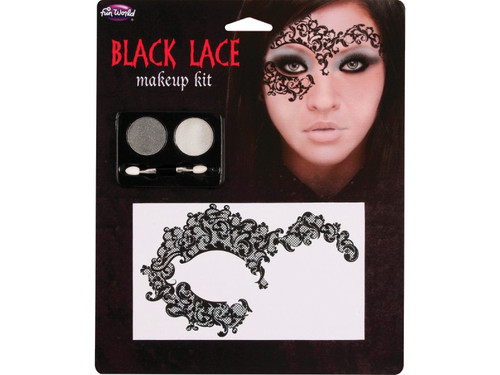 Want to do a sugar skull costume but not sure about the makeup? Then this lace sugar skull makeup kit is perfect! The tattoos are easy to apply and look captivating. Also included in the kit is orange and white eyeshadow for a pop of color. Great easy Halloween makeup idea and perfect for a DIY sugar skull costume! Includes: Lace tattoo, 2 color makeup tray and applicator.
