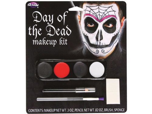 A great makeup kit to use when celebrating the Day of the Dead! Male kit includes makeup, pencil, brush, and sponge. Blister pack.