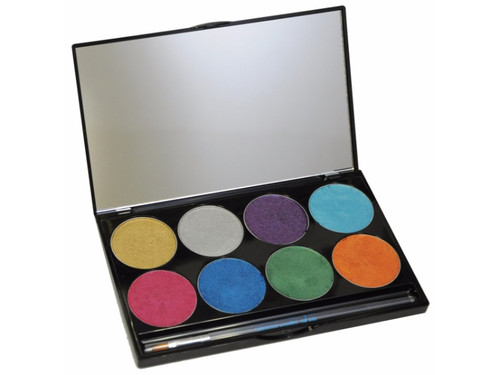Semi-soft, water activated moist cake makeup. Paradise AQ Makeup includes aloe and chamomile and the enriching emollients glycerin, avocado oil, and cocoa butter, so it is safe and gentle on skin. Paradise AQ Makeup has a richer, more vibrant, color-saturated coverage than ordinary makeup yet it's water-soluble. Easy soap and water removal! Great for body painting! 8 color palette is perfect for artists on the go! Makeup palette has 8 bright metallic colors: Gold, Silver, Purple, Lt Blue, Orange, Fuschia, Green and Dark Blue. Available in a 2 oz (56 g) sleek, stackable, mirrored palette.