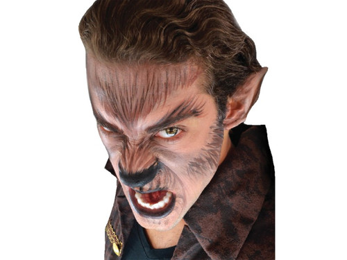 This Werewolf complete makeup kit include the latex appliances, glue, makeup and sponges.  Put a horrifying werewolf costume together!